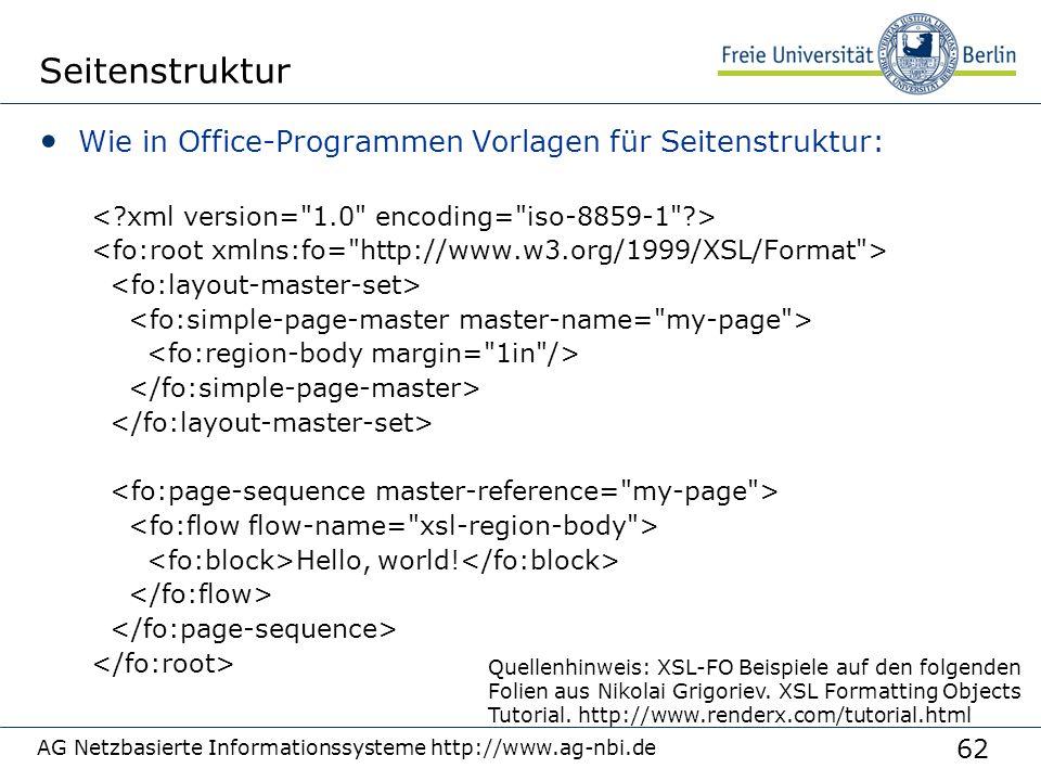 62 AG Netzbasierte Informationssysteme http://www.ag-nbi.de Seitenstruktur Wie in Office-Programmen Vorlagen für Seitenstruktur: Hello, world! Quellen