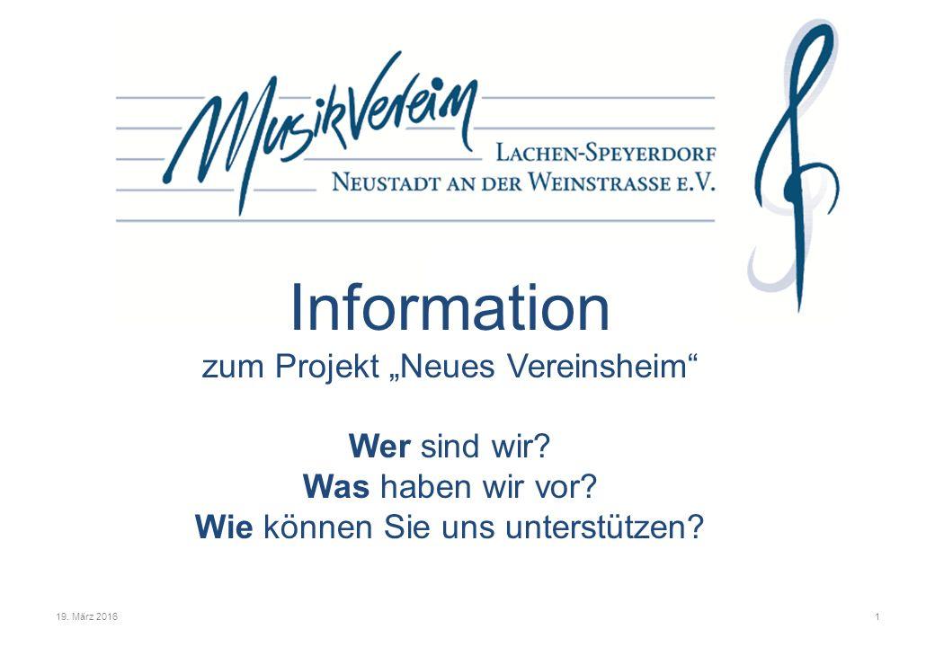 """Information zum Projekt """"Neues Vereinsheim Wer sind wir."""