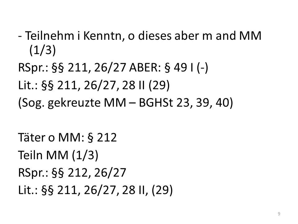 - Teilnehm i Kenntn, o dieses aber m and MM (1/3) RSpr.: §§ 211, 26/27 ABER: § 49 I (-) Lit.: §§ 211, 26/27, 28 II (29) (Sog.