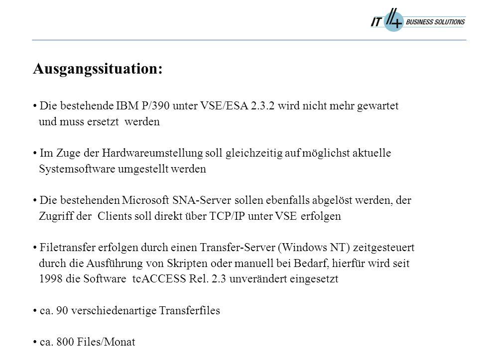 Ausgangssituation: Die bestehende IBM P/390 unter VSE/ESA 2.3.2 wird nicht mehr gewartet und muss ersetzt werden Im Zuge der Hardwareumstellung soll gleichzeitig auf möglichst aktuelle Systemsoftware umgestellt werden Die bestehenden Microsoft SNA-Server sollen ebenfalls abgelöst werden, der Zugriff der Clients soll direkt über TCP/IP unter VSE erfolgen Filetransfer erfolgen durch einen Transfer-Server (Windows NT) zeitgesteuert durch die Ausführung von Skripten oder manuell bei Bedarf, hierfür wird seit 1998 die Software tcACCESS Rel.