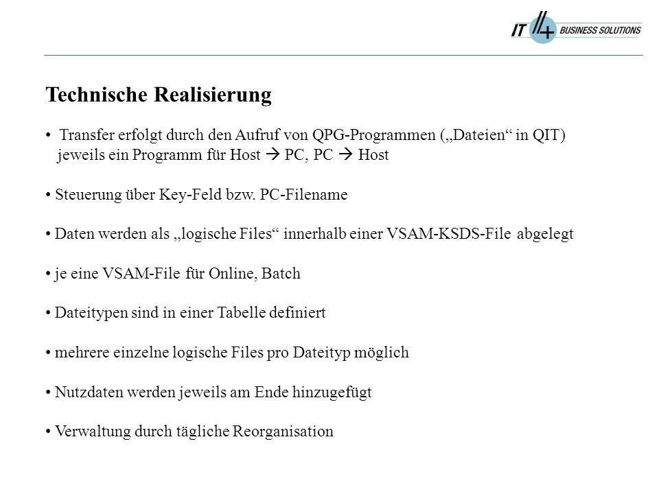 """Technische Realisierung Transfer erfolgt durch den Aufruf von QPG-Programmen (""""Dateien in QIT) jeweils ein Programm für Host  PC, PC  Host Steuerung über Key-Feld bzw."""