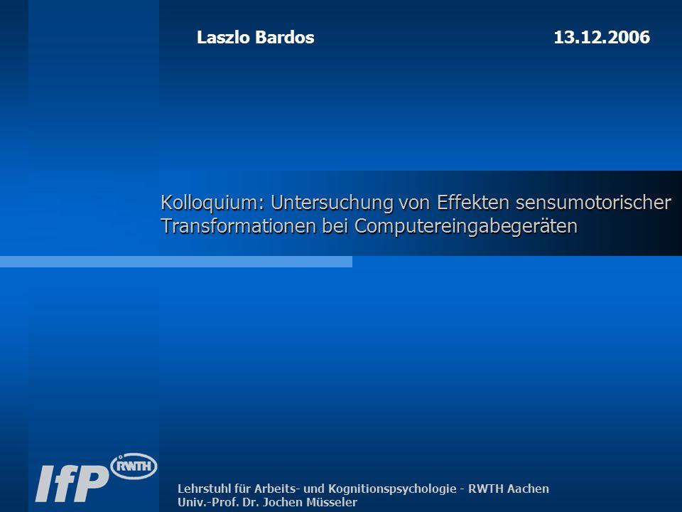 Lehrstuhl für Arbeits- und Kognitionspsychologie - RWTH Aachen Univ.-Prof.