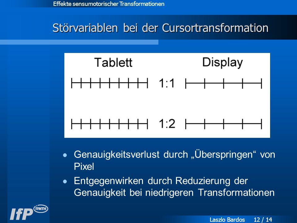 """Effekte sensumotorischer Transformationen Laszlo Bardos 12 / 14 Störvariablen bei der Cursortransformation Genauigkeitsverlust durch """"Überspringen von Pixel Entgegenwirken durch Reduzierung der Genauigkeit bei niedrigeren Transformationen"""
