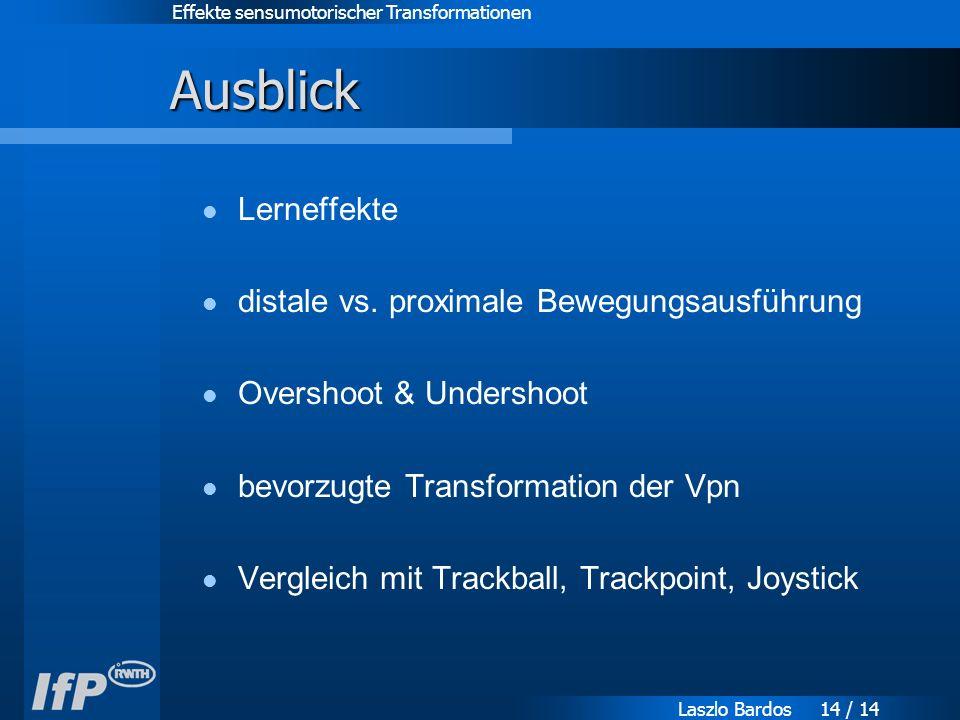 Effekte sensumotorischer Transformationen Laszlo Bardos 14 / 14 Ausblick Lerneffekte distale vs.
