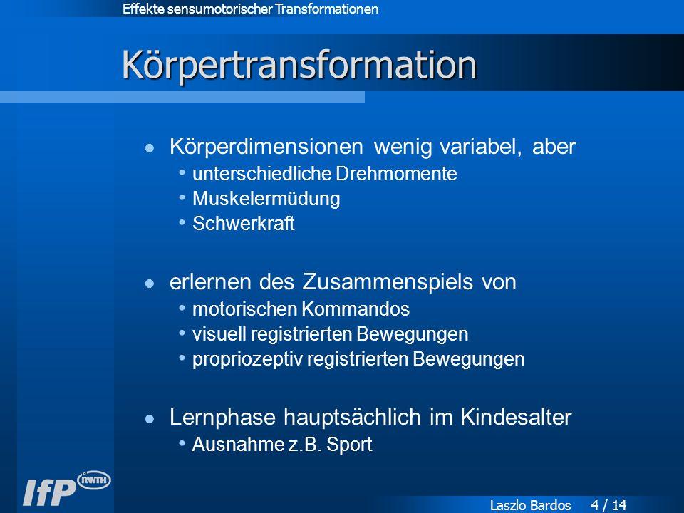 Effekte sensumotorischer Transformationen Laszlo Bardos 4 / 14 Körpertransformation Körperdimensionen wenig variabel, aber unterschiedliche Drehmomente Muskelermüdung Schwerkraft erlernen des Zusammenspiels von motorischen Kommandos visuell registrierten Bewegungen propriozeptiv registrierten Bewegungen Lernphase hauptsächlich im Kindesalter Ausnahme z.B.