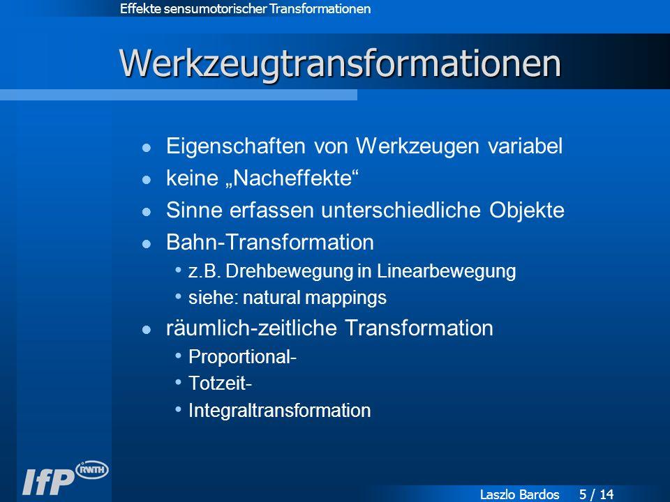 """Effekte sensumotorischer Transformationen Laszlo Bardos 5 / 14 Werkzeugtransformationen Eigenschaften von Werkzeugen variabel keine """"Nacheffekte Sinne erfassen unterschiedliche Objekte Bahn-Transformation z.B."""