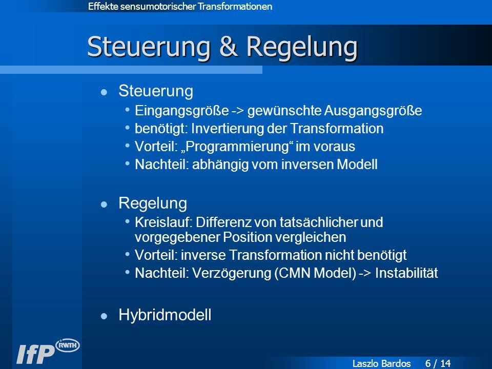 """Effekte sensumotorischer Transformationen Laszlo Bardos 6 / 14 Steuerung & Regelung Steuerung Eingangsgröße -> gewünschte Ausgangsgröße benötigt: Invertierung der Transformation Vorteil: """"Programmierung im voraus Nachteil: abhängig vom inversen Modell Regelung Kreislauf: Differenz von tatsächlicher und vorgegebener Position vergleichen Vorteil: inverse Transformation nicht benötigt Nachteil: Verzögerung (CMN Model) -> Instabilität Hybridmodell"""