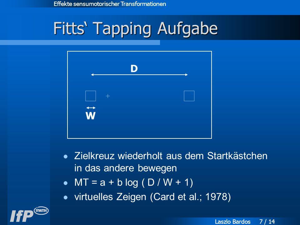 Effekte sensumotorischer Transformationen Laszlo Bardos 7 / 14 Fitts' Tapping Aufgabe Zielkreuz wiederholt aus dem Startkästchen in das andere bewegen MT = a + b log ( D / W + 1) virtuelles Zeigen (Card et al.; 1978) D W