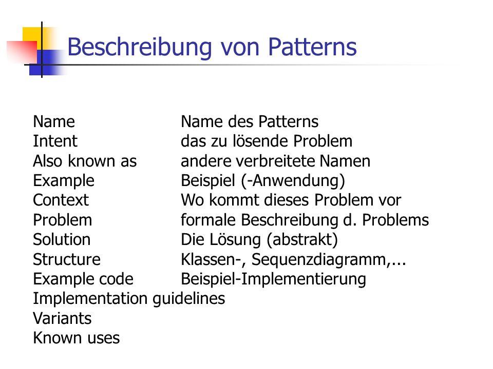 Design (mit) Patterns Low Level Design Aufgabe des Moduls ist bekannt, konkrete Implementierung noch offen Identifikation von Patterns anhand (technischer) Problemstellung durch Abstraktion Analogien zu anderen Systemen (known uses) Patternkataloge Refactoring Anhand des Codes wird Problem identifiziert Dazu passendes Patterns ausgewählt und implementiert Antipatterns High Level Design, Analyse Architectural patterns Data model patterns