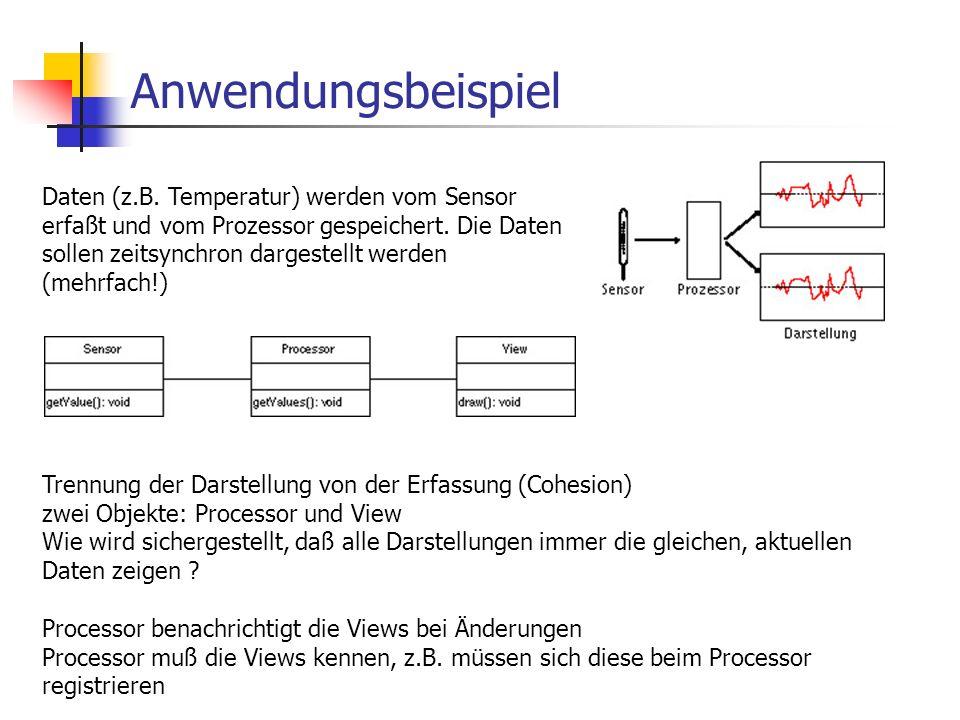Anwendungsbeispiel Daten (z.B. Temperatur) werden vom Sensor erfaßt und vom Prozessor gespeichert.