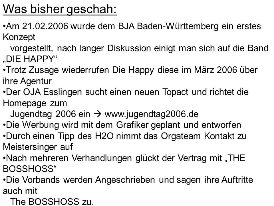 """Was bisher geschah: Am 21.02.2006 wurde dem BJA Baden-Württemberg ein erstes Konzept vorgestellt, nach langer Diskussion einigt man sich auf die Band """"DIE HAPPY Trotz Zusage wiederrufen Die Happy diese im März 2006 über ihre Agentur Der OJA Esslingen sucht einen neuen Topact und richtet die Homepage zum Jugendtag 2006 ein  www.jugendtag2006.de Die Werbung wird mit dem Grafiker geplant und entworfen Durch einen Tipp des H2O nimmt das Orgateam Kontakt zu Meistersinger auf Nach mehreren Verhandlungen glückt der Vertrag mit """"THE BOSSHOSS Die Vorbands werden Angeschrieben und sagen ihre Auftritte auch mit The BOSSHOSS zu."""