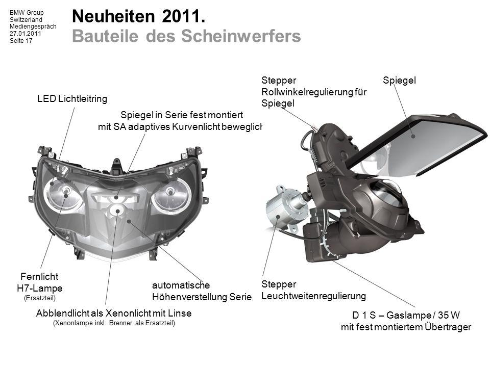 BMW Group Switzerland Mediengespräch 27.01.2011 Seite 18 BMW Motorrad 2011.