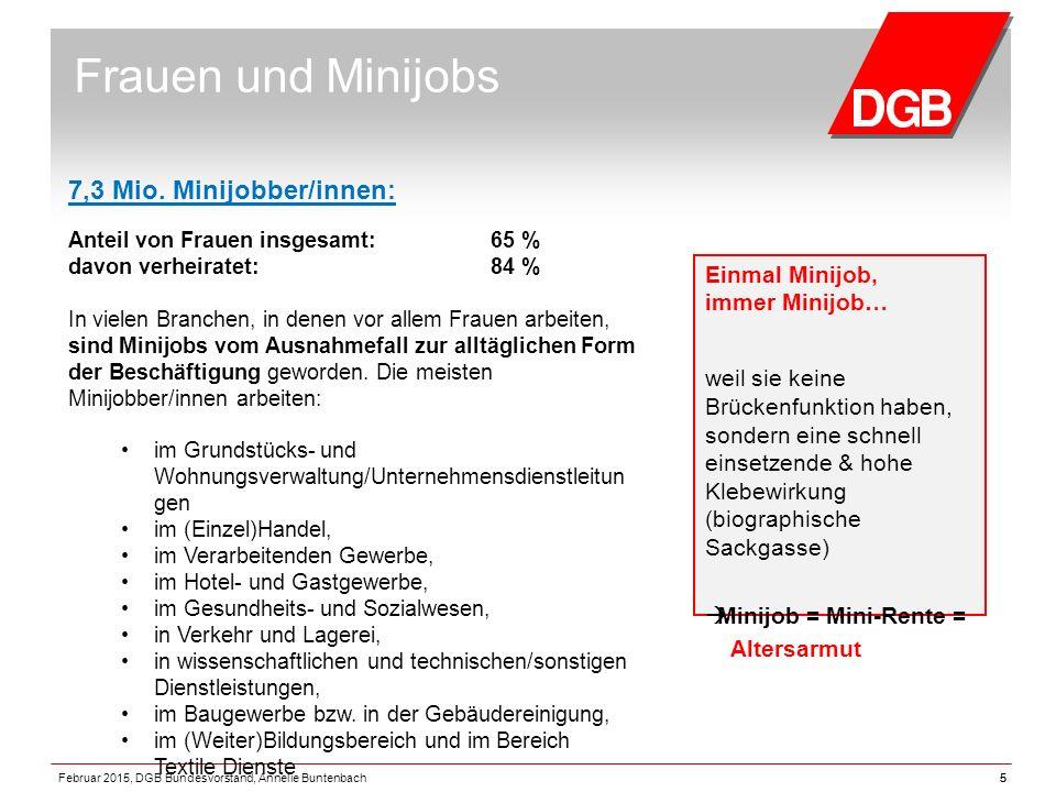 5 Frauen und Minijobs Einmal Minijob, immer Minijob… weil sie keine Brückenfunktion haben, sondern eine schnell einsetzende & hohe Klebewirkung (biographische Sackgasse)  Minijob = Mini-Rente = Altersarmut 7,3 Mio.