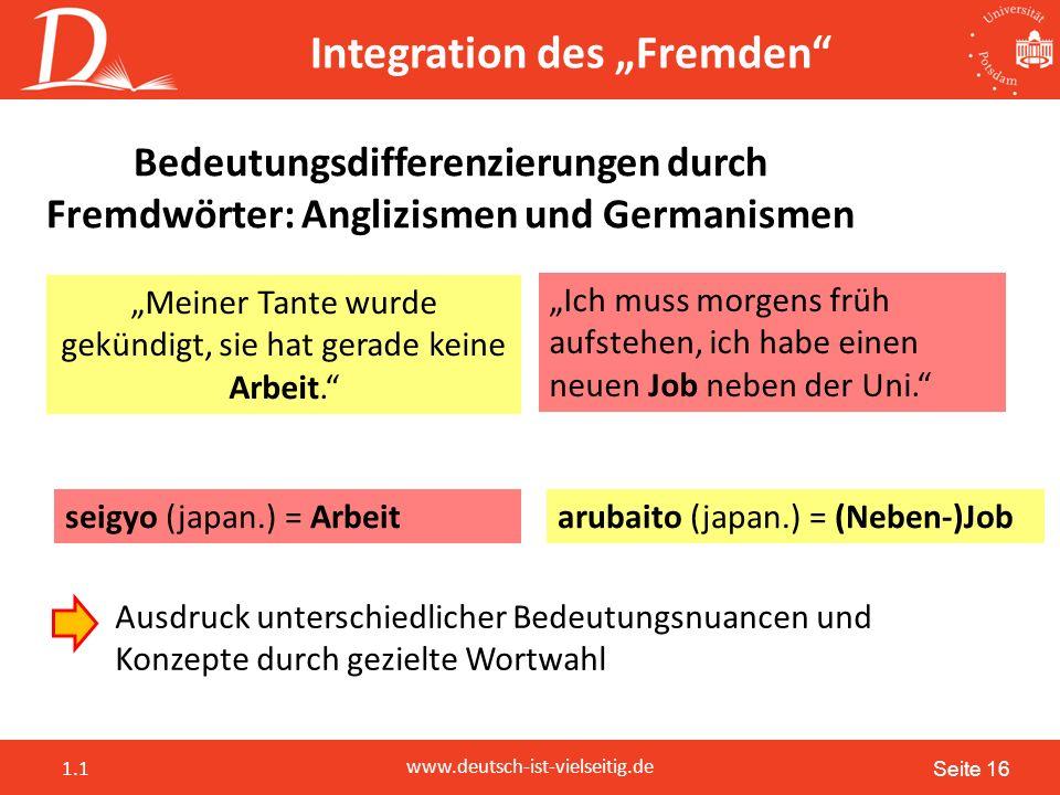"""Seite 16 www.deutsch-ist-vielseitig.de 1.1 Bedeutungsdifferenzierungen durch Fremdwörter: Anglizismen und Germanismen Ausdruck unterschiedlicher Bedeutungsnuancen und Konzepte durch gezielte Wortwahl """"Meiner Tante wurde gekündigt, sie hat gerade keine Arbeit. """"Ich muss morgens früh aufstehen, ich habe einen neuen Job neben der Uni. seigyo (japan.) = Arbeitarubaito (japan.) = (Neben-)Job Integration des """"Fremden"""