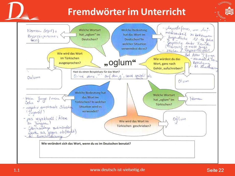 Seite 22 www.deutsch-ist-vielseitig.de 1.1 Fremdwörter im Unterricht