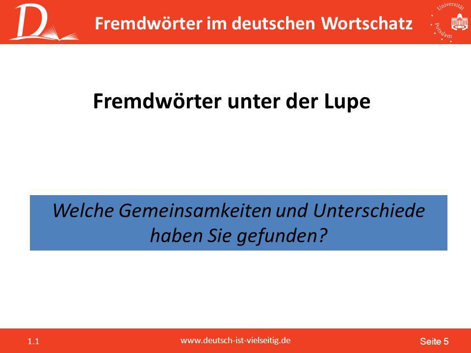 Seite 5 www.deutsch-ist-vielseitig.de 1.1 Fremdwörter im deutschen Wortschatz Fremdwörter unter der Lupe Welche Gemeinsamkeiten und Unterschiede haben Sie gefunden