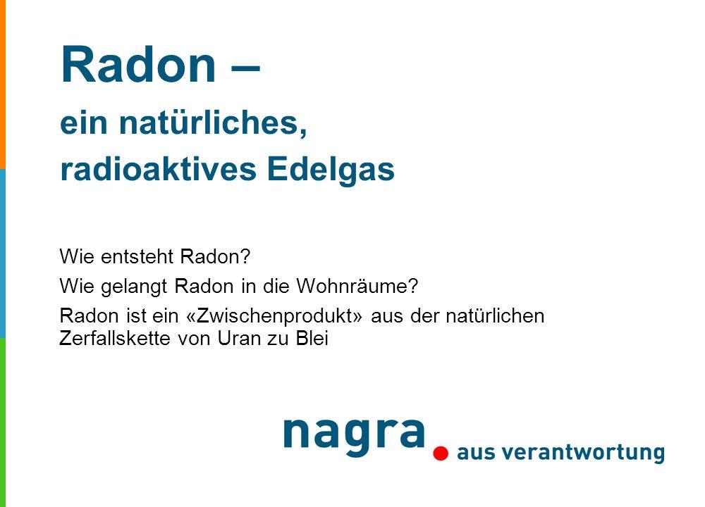 Radon – ein natürliches, radioaktives Edelgas Wie entsteht Radon? Wie gelangt Radon in die Wohnräume? Radon ist ein «Zwischenprodukt» aus der natürlic