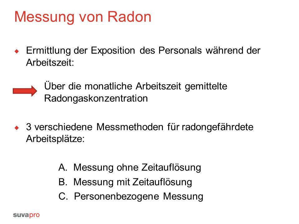 Messung von Radon  Ermittlung der Exposition des Personals während der Arbeitszeit: Über die monatliche Arbeitszeit gemittelte Radongaskonzentration  3 verschiedene Messmethoden für radongefährdete Arbeitsplätze: A.