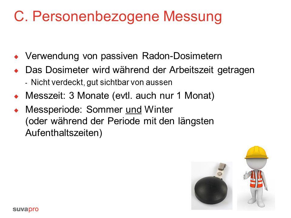 C. Personenbezogene Messung  Verwendung von passiven Radon-Dosimetern  Das Dosimeter wird während der Arbeitszeit getragen - Nicht verdeckt, gut sic