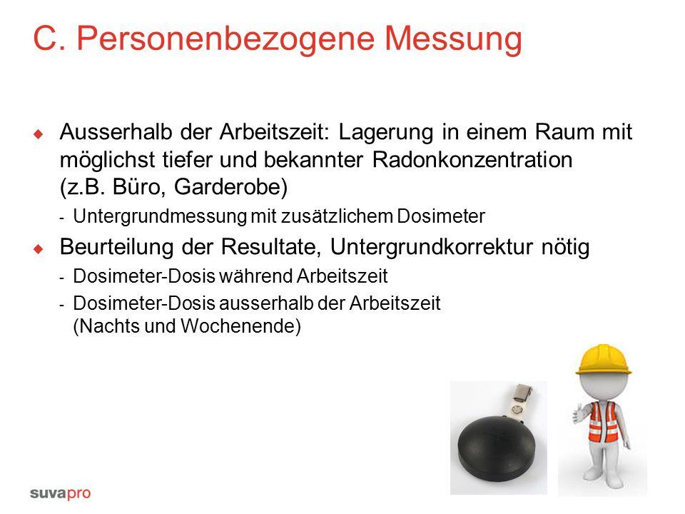 C. Personenbezogene Messung  Ausserhalb der Arbeitszeit: Lagerung in einem Raum mit möglichst tiefer und bekannter Radonkonzentration (z.B. Büro, Gar