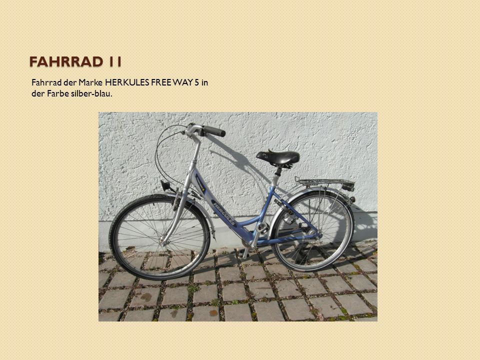 FAHRRAD 11 Fahrrad der Marke HERKULES FREE WAY 5 in der Farbe silber-blau.