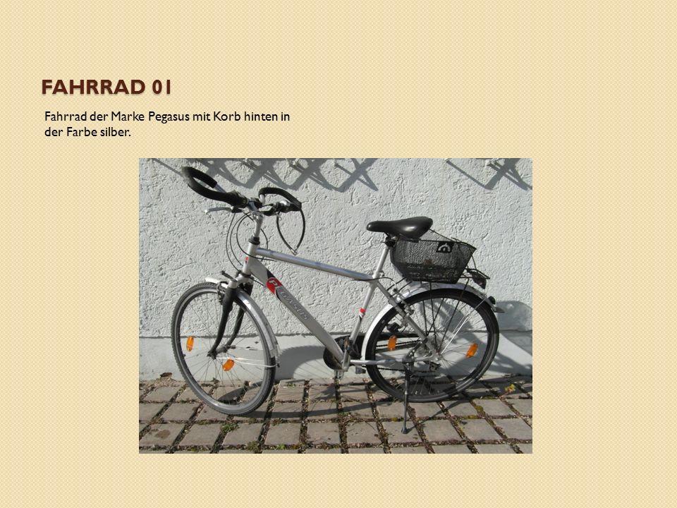 FAHRRAD 01 Fahrrad der Marke Pegasus mit Korb hinten in der Farbe silber.