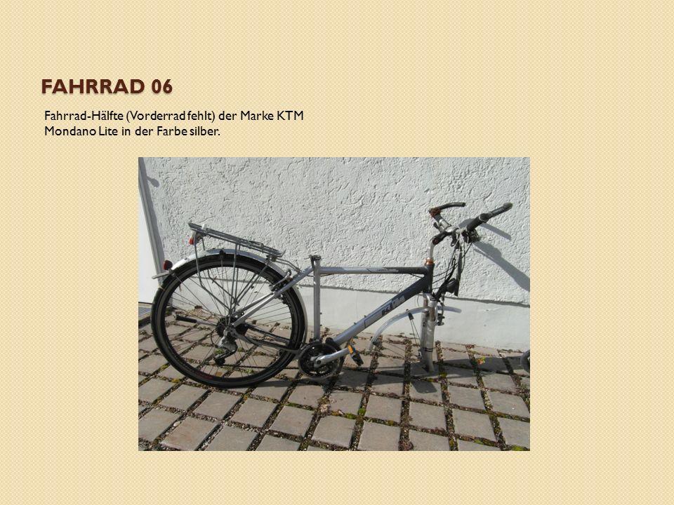 FAHRRAD 06 Fahrrad-Hälfte (Vorderrad fehlt) der Marke KTM Mondano Lite in der Farbe silber.