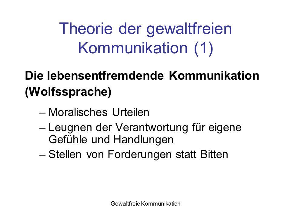 Gewaltfreie Kommunikation Theorie der gewaltfreien Kommunikation (1) Die lebensentfremdende Kommunikation (Wolfssprache) –Moralisches Urteilen –Leugne