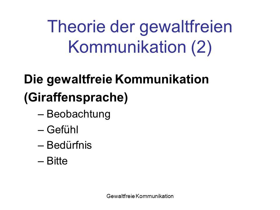 Gewaltfreie Kommunikation Theorie der gewaltfreien Kommunikation (2) Die gewaltfreie Kommunikation (Giraffensprache) –Beobachtung –Gefühl –Bedürfnis –