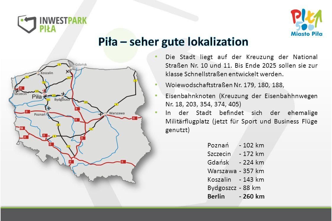 Die Stadt liegt auf der Kreuzung der National Straßen Nr. 10 und 11. Bis Ende 2025 sollen sie zur klasse Schnellstraßen entwickelt werden. Woiewodscha