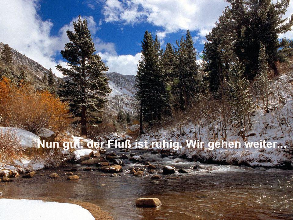 Nun gut, der Fluß ist ruhig. Wir gehen weiter …