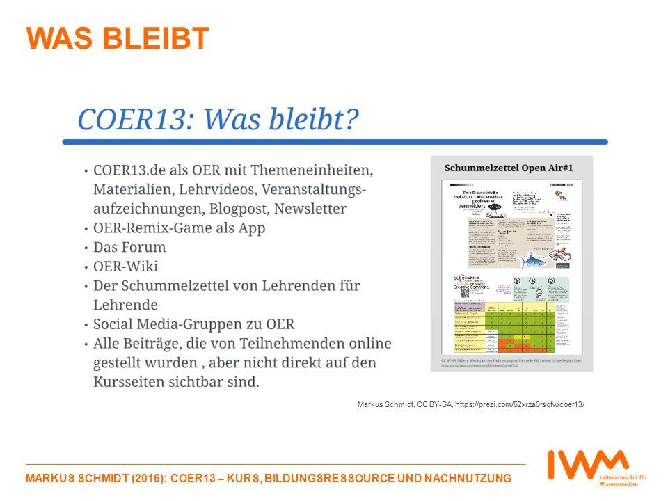 WAS BLEIBT MARKUS SCHMIDT (2016): COER13 – KURS, BILDUNGSRESSOURCE UND NACHNUTZUNG Markus Schmidt, CC BY-SA, https://prezi.com/52xrza0rsgfw/coer13/