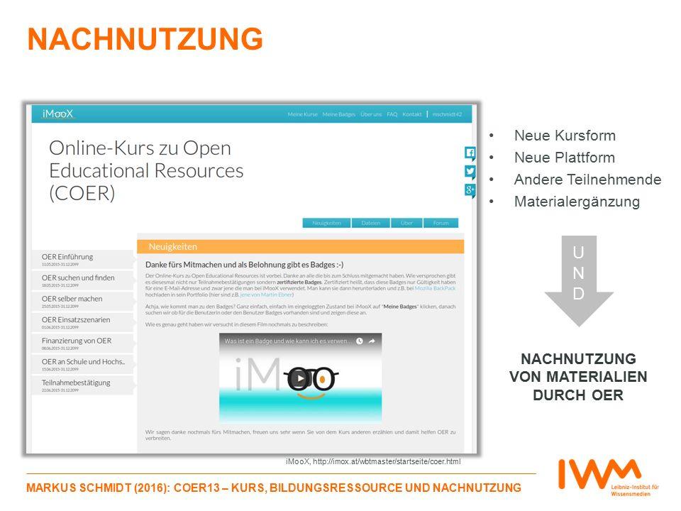 NACHNUTZUNG MARKUS SCHMIDT (2016): COER13 – KURS, BILDUNGSRESSOURCE UND NACHNUTZUNG Neue Kursform Neue Plattform Andere Teilnehmende Materialergänzung NACHNUTZUNG VON MATERIALIEN DURCH OER UNDUND iMooX, http://imox.at/wbtmaster/startseite/coer.html
