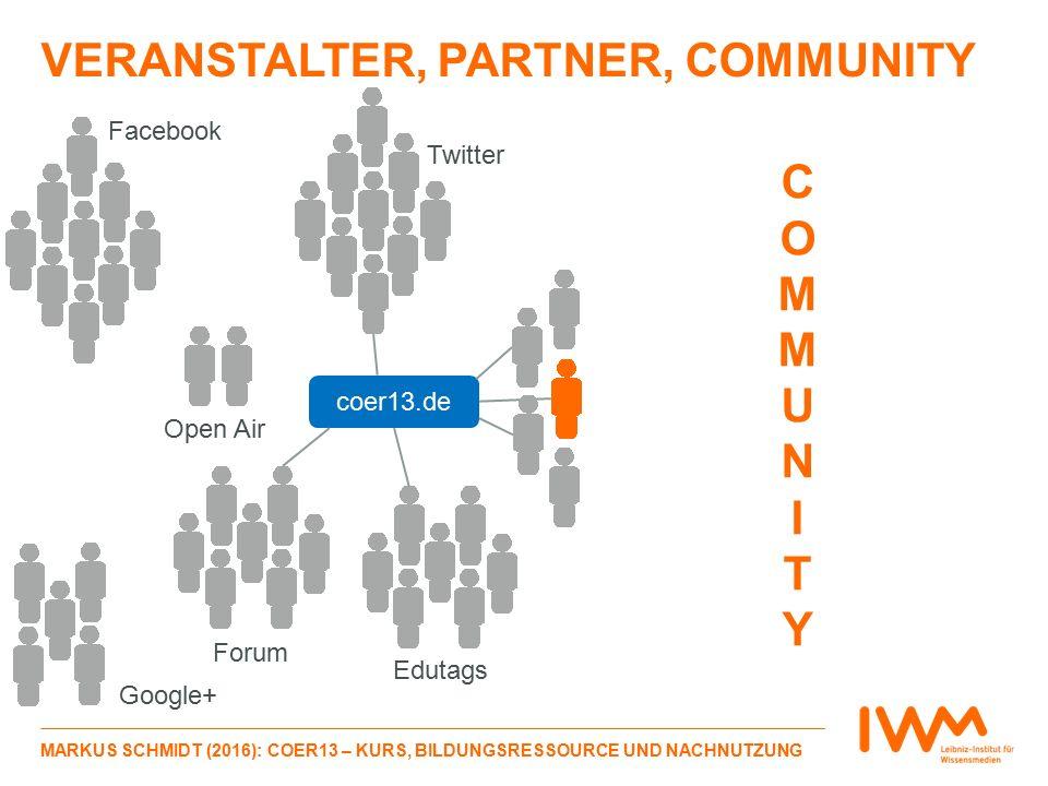 VERANSTALTER, PARTNER, COMMUNITY MARKUS SCHMIDT (2016): COER13 – KURS, BILDUNGSRESSOURCE UND NACHNUTZUNG COMMUNITYCOMMUNITY Facebook Twitter Google+ Forum Open Air Edutags coer13.de