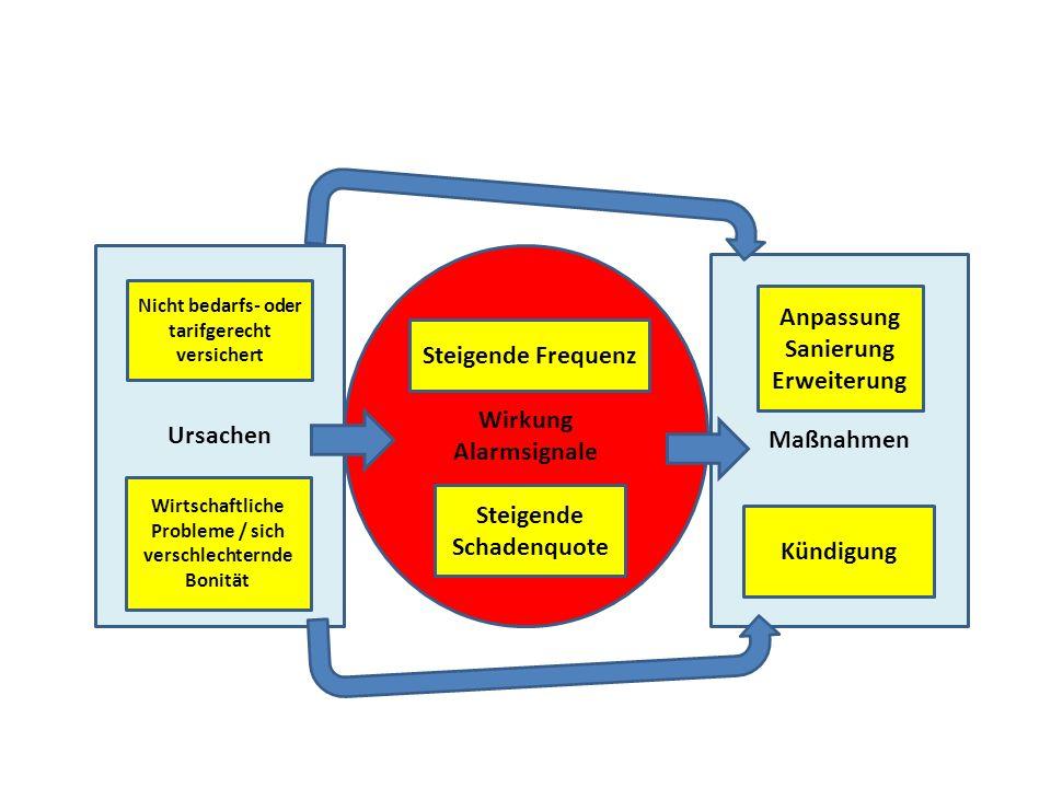 Ursachen Maßnahmen Wirkung Alarmsignale Nicht bedarfs- oder tarifgerecht versichert Wirtschaftliche Probleme / sich verschlechternde Bonität Anpassung Sanierung Erweiterung Kündigung Steigende Frequenz Steigende Schadenquote