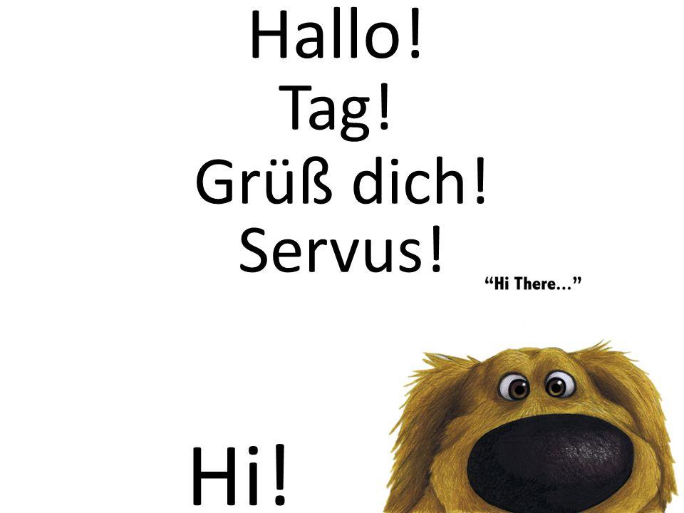 Hallo! Hi! Tag! Grüß dich! Servus!