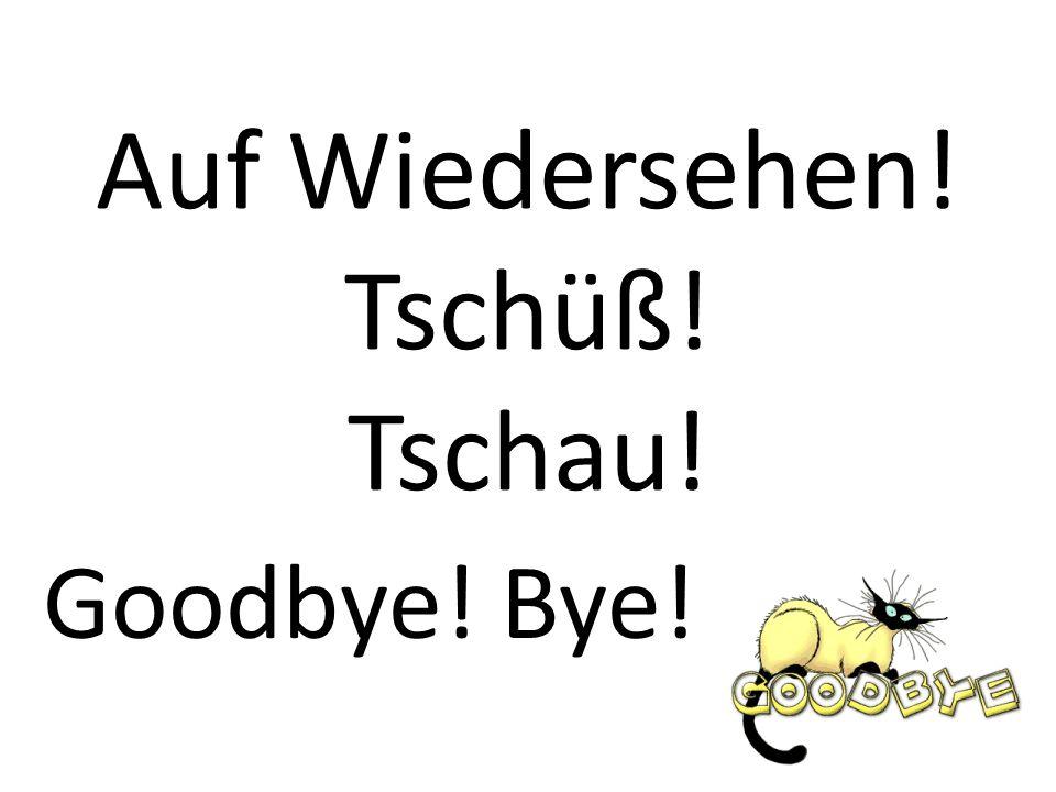 Auf Wiedersehen! Tschüß! Tschau! Goodbye! Bye!