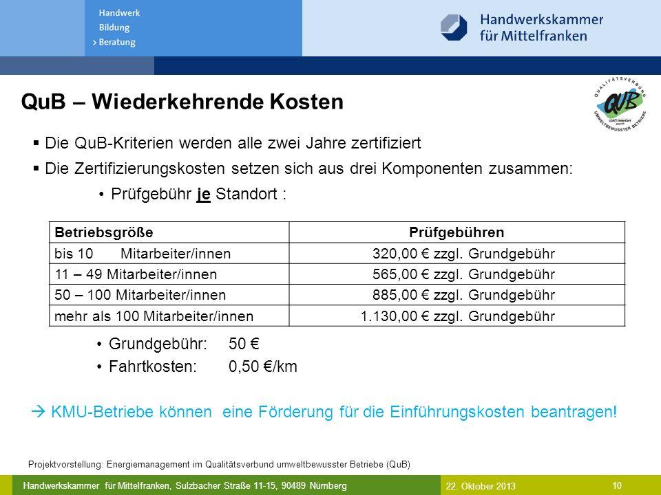 Handwerkskammer für Mittelfranken, Sulzbacher Straße 11-15, 90489 Nürnberg 10 QuB – Wiederkehrende Kosten  Die QuB-Kriterien werden alle zwei Jahre zertifiziert  Die Zertifizierungskosten setzen sich aus drei Komponenten zusammen: Prüfgebühr je Standort : BetriebsgrößePrüfgebühren bis 10 Mitarbeiter/innen 320,00 € zzgl.