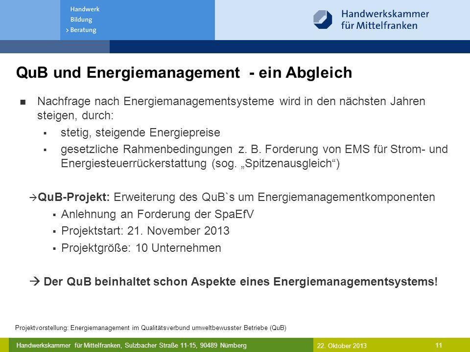 Handwerkskammer für Mittelfranken, Sulzbacher Straße 11-15, 90489 Nürnberg QuB und Energiemanagement - ein Abgleich 11 Nachfrage nach Energiemanagementsysteme wird in den nächsten Jahren steigen, durch:  stetig, steigende Energiepreise  gesetzliche Rahmenbedingungen z.