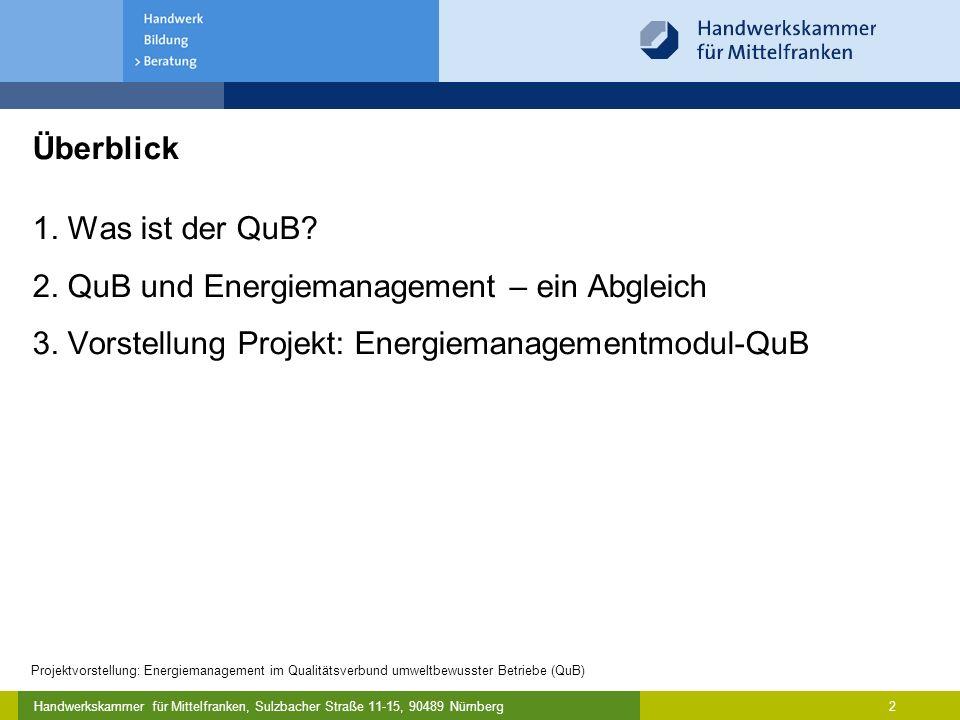 Handwerkskammer für Mittelfranken, Sulzbacher Straße 11-15, 90489 Nürnberg Projektvorstellung: Energiemanagement im Qualitätsverbund umweltbewusster Betriebe (QuB) 2 1.