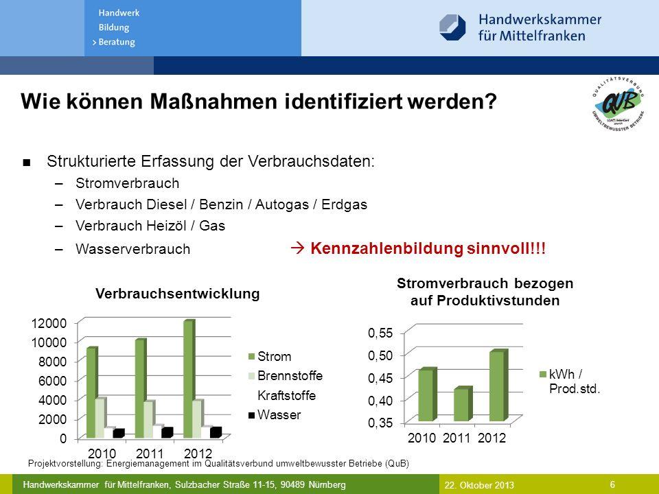 Handwerkskammer für Mittelfranken, Sulzbacher Straße 11-15, 90489 Nürnberg Strukturierte Erfassung der Verbrauchsdaten mit Kennzahlenbildung 7 Umweltmaßnahme für 2011: –Austausch eines Fahrzeuges gegen ein effizienteres Modell Umweltmaßnahme für 2013: –Durchführung von Spritspartrainings (langfristiges Ziel: 10-15% Einsparung) Ziel (l/100km) IST (l/100km) Abweichung (l/100km) 7,59,17+ 1,67 Wie können Maßnahmen identifiziert werden.