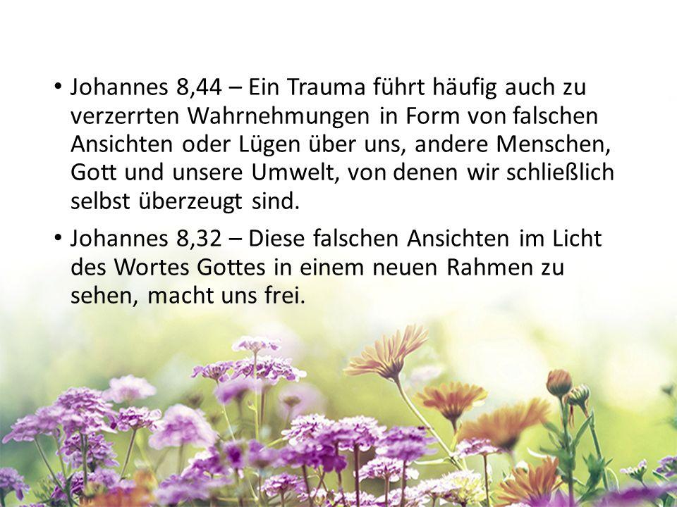 Johannes 8,44 – Ein Trauma führt häufig auch zu verzerrten Wahrnehmungen in Form von falschen Ansichten oder Lügen über uns, andere Menschen, Gott und unsere Umwelt, von denen wir schließlich selbst überzeugt sind.