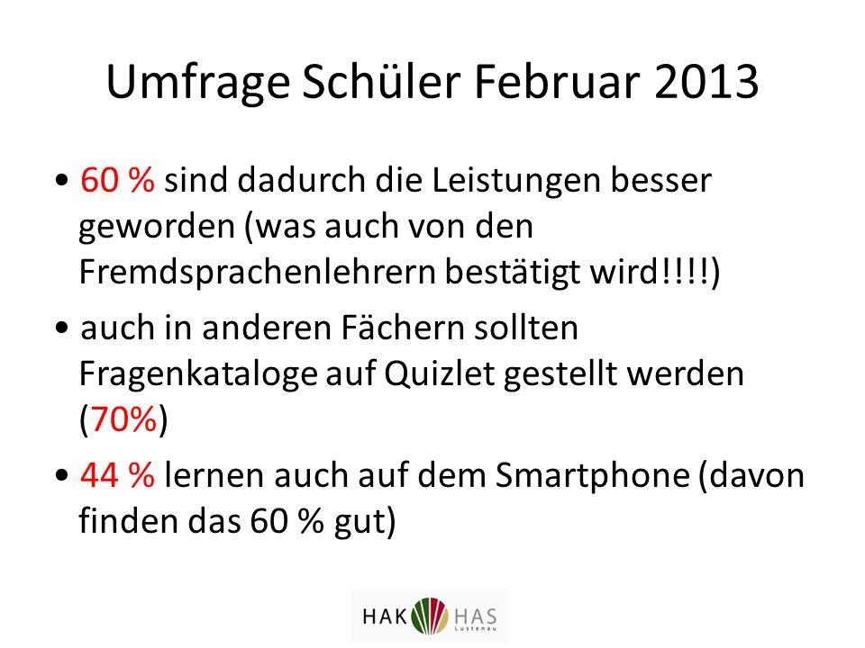 Umfrage Schüler Februar 2013 60 % sind dadurch die Leistungen besser geworden (was auch von den Fremdsprachenlehrern bestätigt wird!!!!) auch in anderen Fächern sollten Fragenkataloge auf Quizlet gestellt werden (70%) 44 % lernen auch auf dem Smartphone (davon finden das 60 % gut)