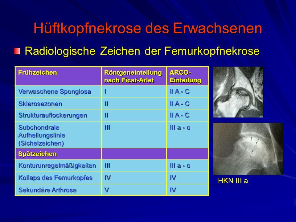 Hüftkopfnekrose des Erwachsenen Radiologische Zeichen der Femurkopfnekrose Frühzeichen Röntgeneinteilung nach Ficat-Arlet ARCO- Einteilung Verwaschene