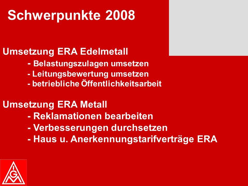 Tarifrunde 2008 - KfZ Handwerk - Haustarifverhandlungen - Metall und Elektroindustrie - Flexible Altersübergänge Sozialpolitik - Gesundheitsreform - Pflegeversicherung - Flexible Altersübergänge Mitgliederentwicklung - Mitglieder halten - Mitglieder werben Schwerpunkte 2008