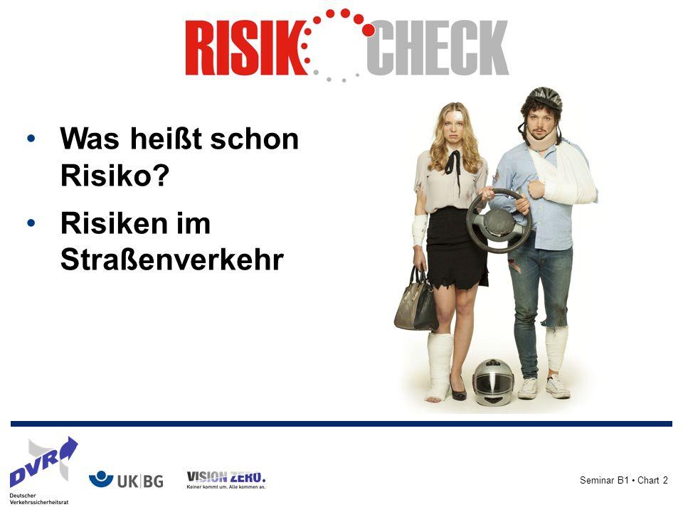 Seminar B1 Chart 2 Was heißt schon Risiko Risiken im Straßenverkehr