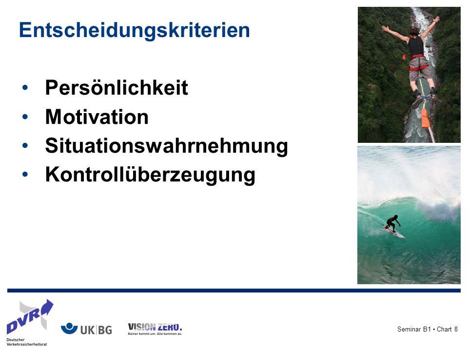Seminar B1 Chart 8 Entscheidungskriterien Persönlichkeit Motivation Situationswahrnehmung Kontrollüberzeugung