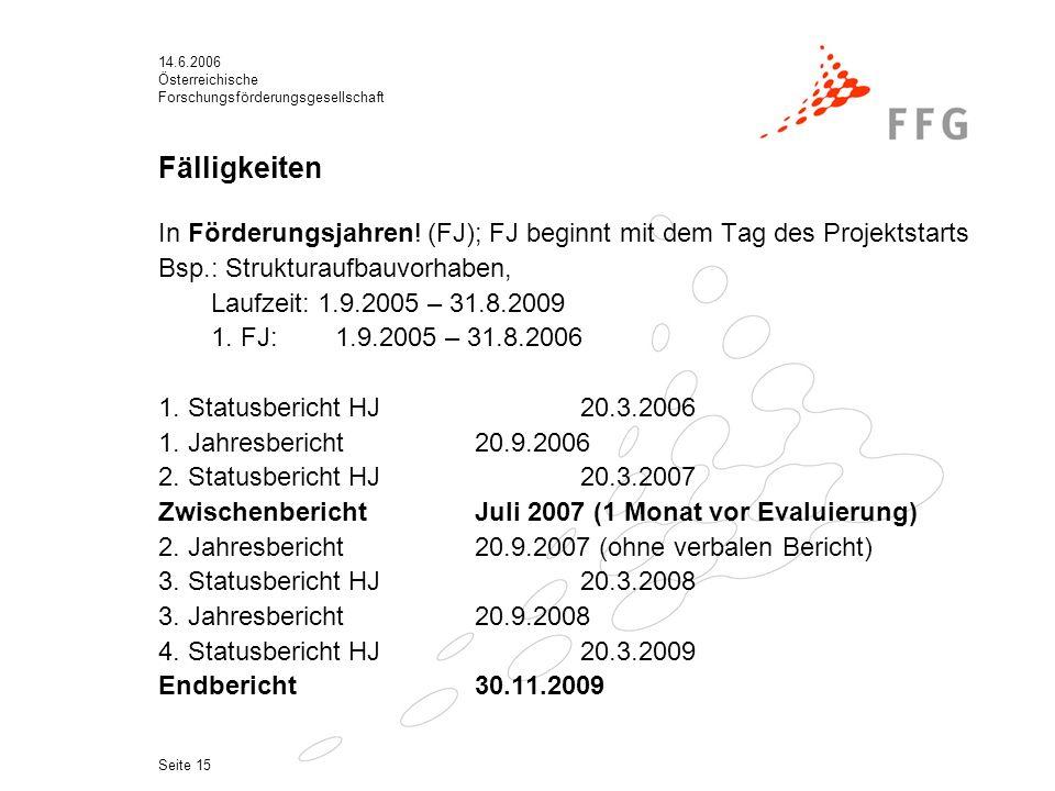 14.6.2006 Österreichische Forschungsförderungsgesellschaft Seite 15 Fälligkeiten In Förderungsjahren.