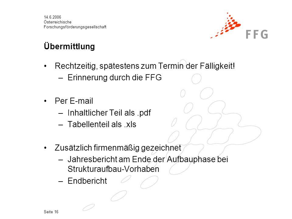 14.6.2006 Österreichische Forschungsförderungsgesellschaft Seite 16 Übermittlung Rechtzeitig, spätestens zum Termin der Fälligkeit.