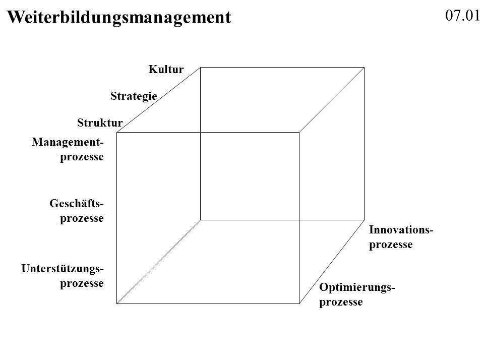 07.01 Weiterbildungsmanagement Management- prozesse Geschäfts- prozesse Unterstützungs- prozesse Innovations- prozesse Optimierungs- prozesse Struktur Strategie Kultur